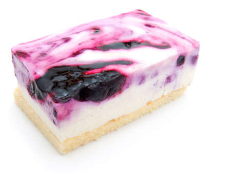 A slice of blueberry cheesecake  photo