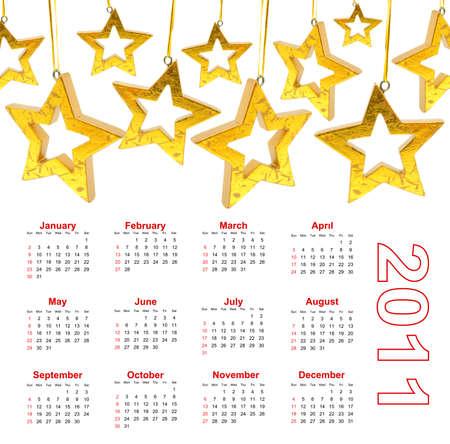 Christmas Star wiht Calendar 2011 Stock Photo - 8343640