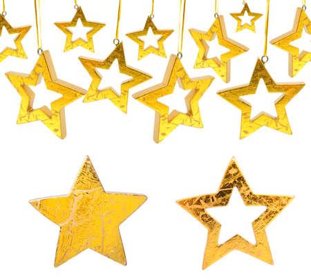 Golden Christmas stars, isolated on white background Stock Photo - 8343637