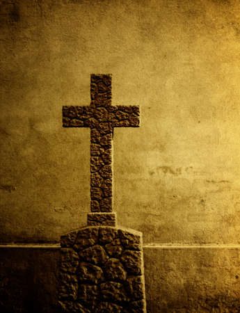 abstract cross: Cross on the European cemetery  Stock Photo