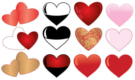 collection of  hearts. isolated on white background. Vector illustration  Vector