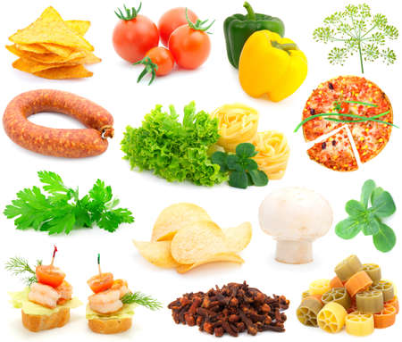 set of fresh vegetables over white background  photo