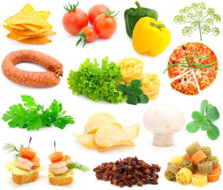 salame: set of fresh vegetables over white background  Stock Photo