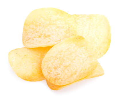 gease: Pile of potato chips, isolated on a white background