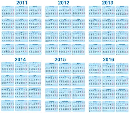 Set of 2011 - 2016 Calendar  Vector