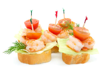 toothpick: canape made from shrimp
