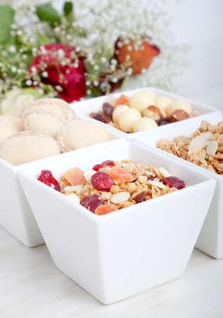 muesli: Breakfast of health food , product of muesli with dried fruit, nut, cornflakes