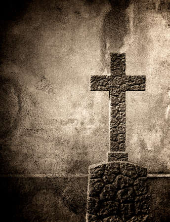 tomb empty: Cross on the European cemetery