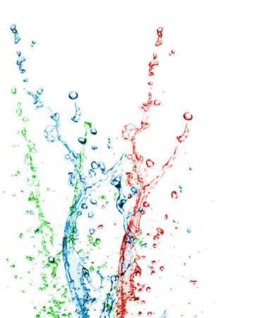Color paint splashing on white  Stock Photo