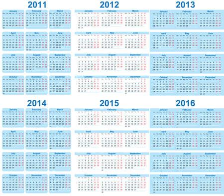 セットの 2011年-2016年カレンダー  イラスト・ベクター素材