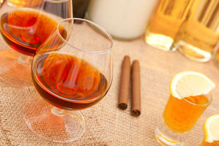 two glass of cognac  photo