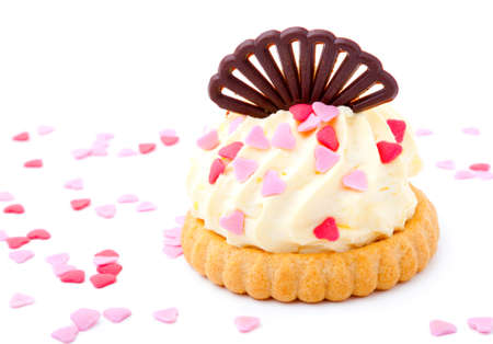 cake with pink hearts, on white background  photo