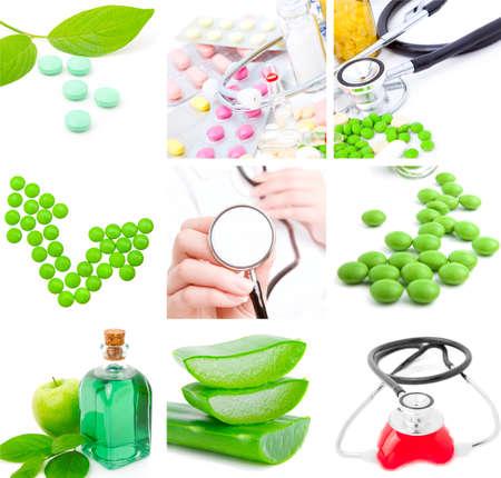 set of medical subjects: pill, stethoscope, aloe   Stock Photo - 9570434