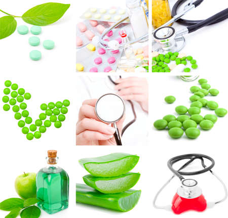 set of medical subjects: pill, stethoscope, aloe Stock Photo - 9570434