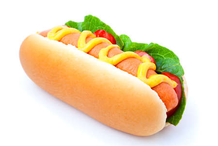 mustard: Hot dog with vegetables on a white background