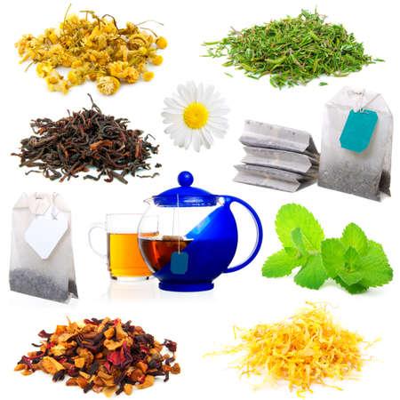 plantas medicinales: conjunto de t� arom�tico, aislado en un fondo blanco.