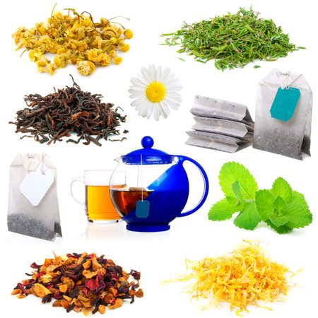 thymus: set of aromatic tea, isolated on a white background.