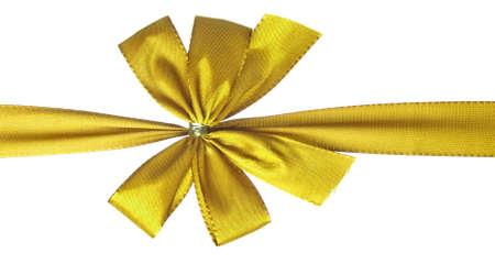 白で隔離される金ギフト弓 写真素材
