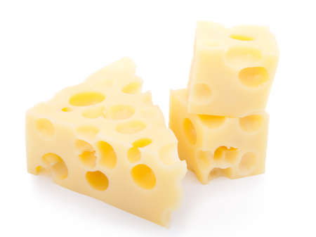 pieces of swiss cheese isolated on white background  photo