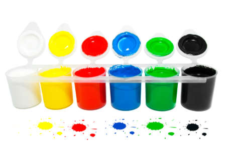 printer drawing: Water based paints, isolated on a white background  Stock Photo