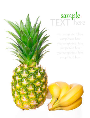 ripe pineapple, bunch of bananas on a white background  photo