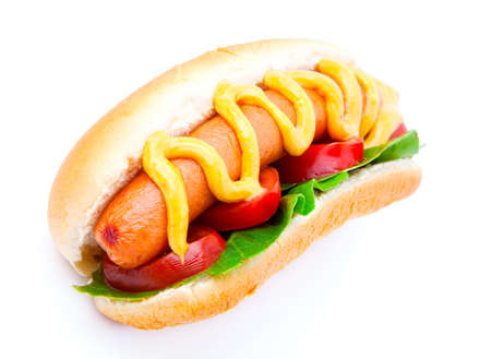 hotdog: Hot dog with vegetables on a white background