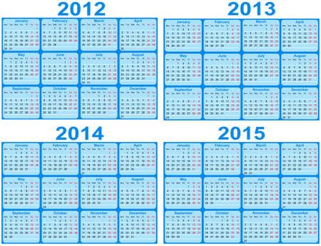 2012 年と 2015年カレンダー セット  イラスト・ベクター素材