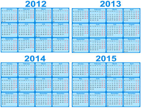 Set of 2012 and 2015 Calendar  Vector