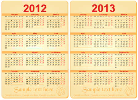 Set of 2012 and 2013 Calendar  Vector