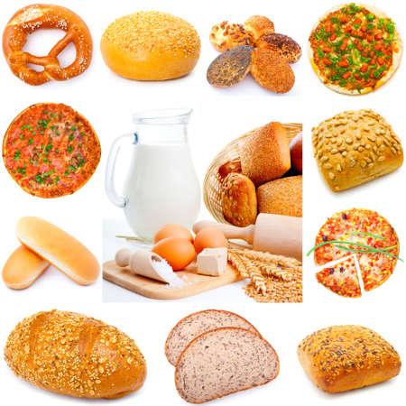 さまざまな種類のパンが白い背景で隔離の品揃え