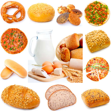 Assortment of different types of bread isolated on white background, photo