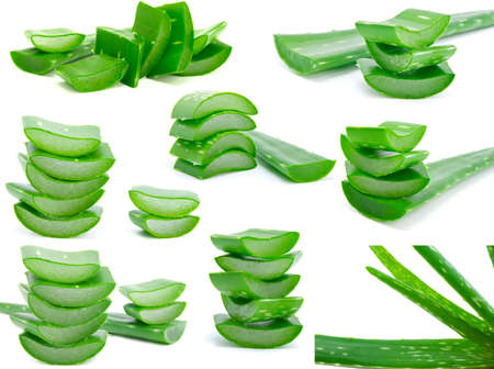 Assortment of sliced aloe leaves isolated on white background  photo