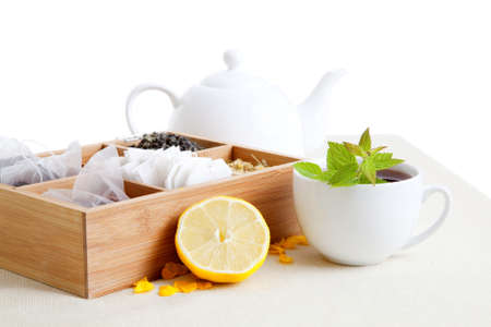 chinese herbal: a cup of tea with lemon