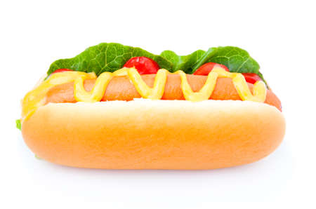 Hot dog with vegetables on a white background  photo