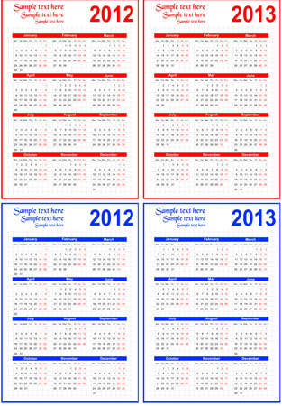 Calendar 2012, 2013 with room for text  Stock Vector - 11003451