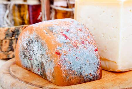 mouldy: macro shot of cheese  Stock Photo