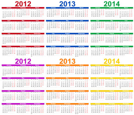 Set of 2012, 2013 and 2014 Calendar  Vector