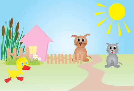 Farm vector illustration, all characters are on separate layers.  Vector