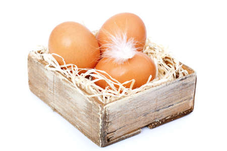 brown eggs at hay, in the old box photo