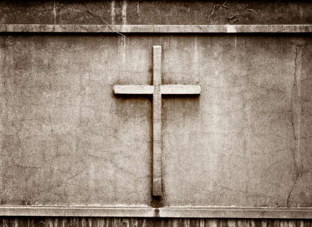 the sermon: cross on wall background
