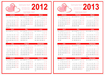 Calendar 2012 with red heart Stock Vector - 11989614