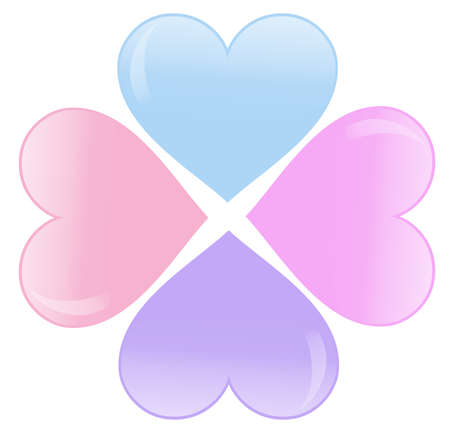 four color hearts Vector