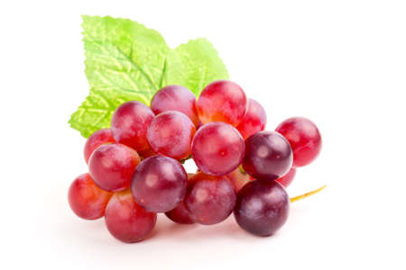 purple red grapes: red grape, isolated on white background. Stock Photo