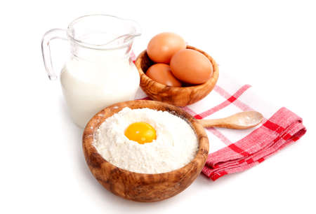 ingredients for baking, isolated on a white background photo