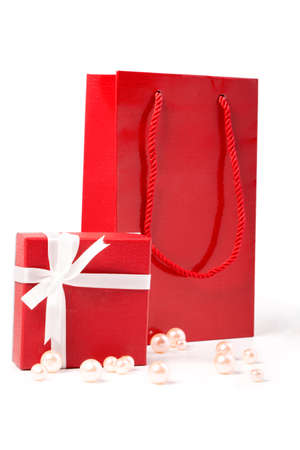 red gift and Gift bag, isolated on white background photo