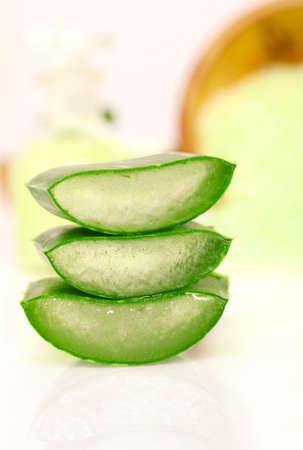 aloe vera background: Sliced aloe leaves