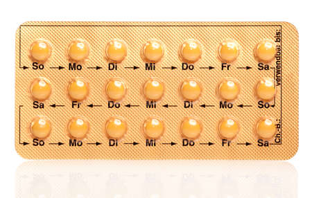 packs of pills: tablets (Birth Control Pills) on a white background Stock Photo