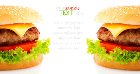 cheeseburger with fries: Tasty hamburger on white background