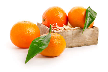 orange mandarins with green leaf isolated on white background photo
