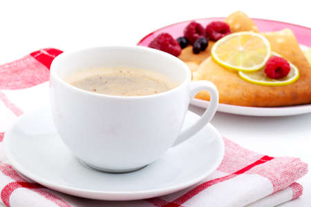 white coffee cup with crepes Stock Photo - 13299376